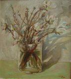 Stillleben mit austreibenden Zweigen (N. N.)