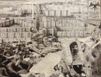 Collage mit Plattenbauten und Leichen (M. Auftau)