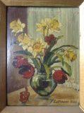 Stillleben mit Osterglocken und Tulpen (F. Latmann, 1948)