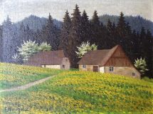 Gehöft in Frühlingslandschaft (Friedrich Nierholz)