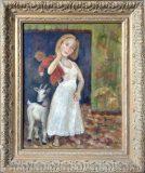 Mädchen mit Puppe und Ziege (N.N.)