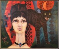 Frau mit Katze (Giselhorst Strauß, 1966)