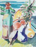 Stillleben mit Obst und Weinflasche (Wilfried Duwentester, 1984)