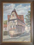 Straße mit Fachwerkhaus (W. Hellmann, 1945)