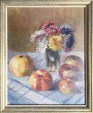 Stillleben mit Äpfeln und Blumenstrauß (N.N.)