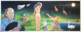 Selbstporträt mit Hommage an Dali (Jose Luis Jimenez Bernal, 1995)